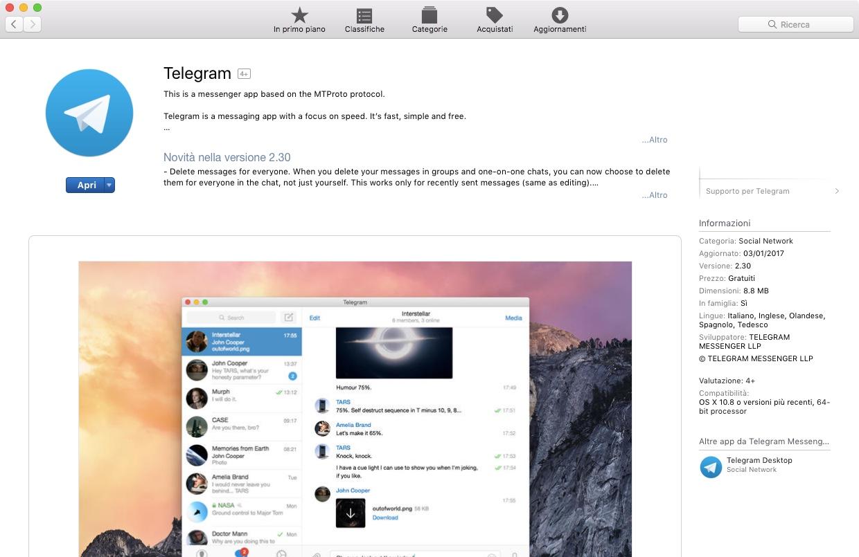 MacOS: che differenza c'è tra i vari Telegram sull'App Store